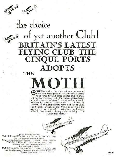 Cinque Ports Flying Club Chooses The De Havilland Moth