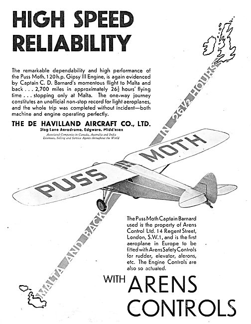 De Havilland Puss Moth -  Arens Controls