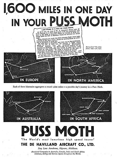 De Havilland Puss Moth - 1600 Miles In One Day.