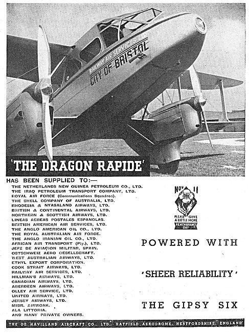De Havilland Dragon Rapide: Railway Air Services