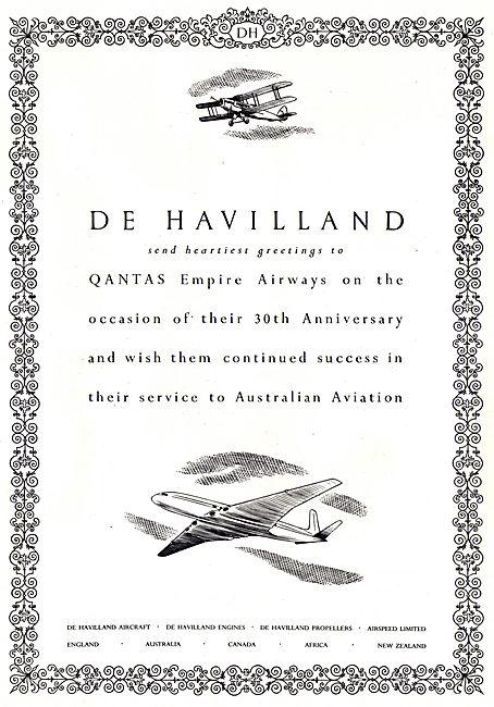 De Havilland Congratulates QANTAS On Their 30th Anniversary