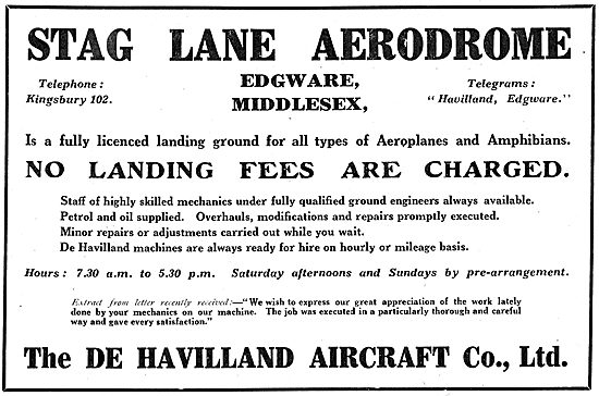 Stag Lane Aerodrome - No Landing Fees Are Charged.