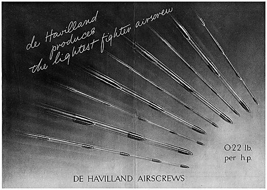 De Havilland Propellers For The Lightest Fighter Airscrews