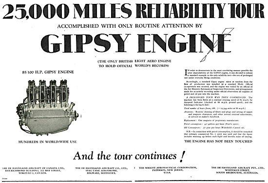 De Havilland Gipsy - Completes 25,000 Miles Reliability Tour