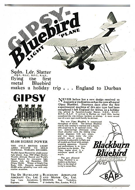 De Havilland Bluebird Gipsy Bluebird- England To Durban.