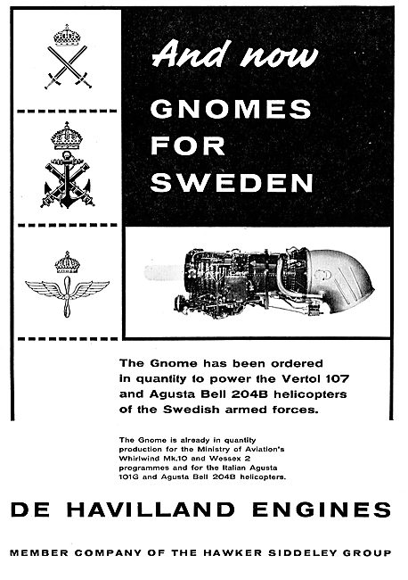 De Havilland Gnome Engines For The Vertol 107 & Agusta Bell 204B