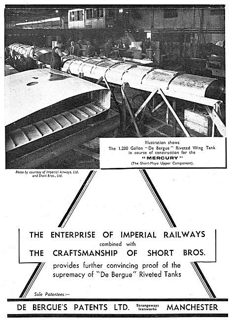 De Bergue's Patents: De Bergue Riveted Tanks - Short-Mayo