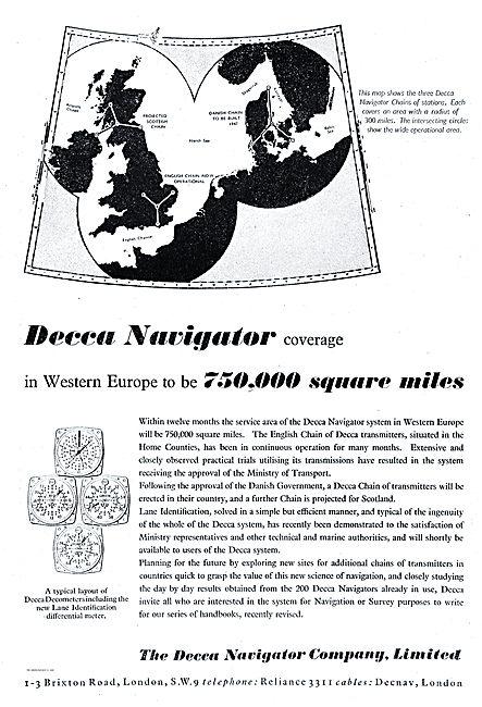 Decca Navigator. English Chain Showing Decometers & Lane Ident