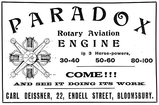 Deissner Paradox Rotary Engines For Aeroplanes