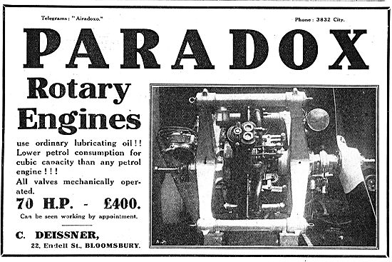 Paradox Rotary Engines For Aeroplanes.