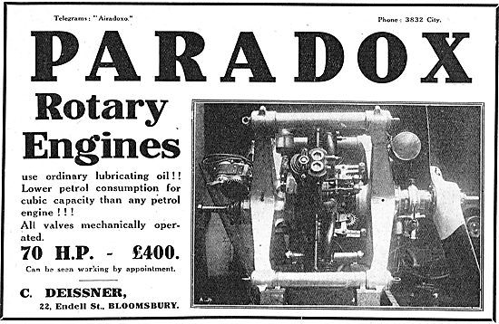 Paradox Rotary Engines For Aeroplanes