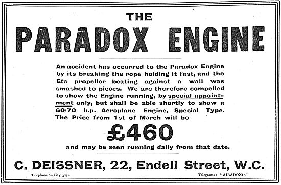 Paradox Rotary Engines For Aeroplanes Now £460