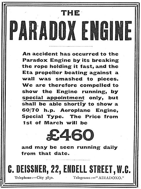 Paradox Rotary Engines For Aeroplanes: View By  Appointment
