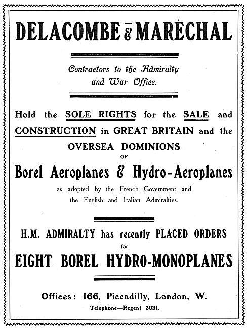 Delacombe & Marechal - Constructors Of BOREL Aeroplanes 1913