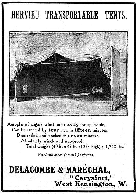 Delacombe & Marechal Hervieu Transportable Tents For Aeroplanes