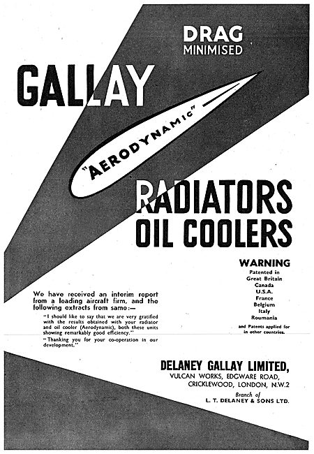 Delaney Gallay Radiatiors & Oil Coolers For Aircraft. 1942 Advert