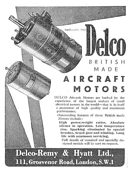 Delco British Made Electric Motors For Aircraft