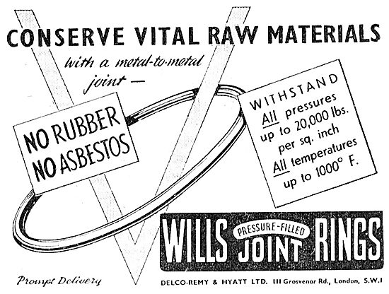 Delco-Remy. Wills Pressure Filled Joint Rings 1943