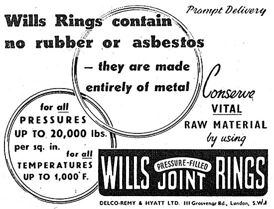 Delco-Remy. Wills Pressure Filled  All Metal Joint Rings