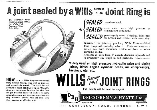 Delco Remy Wills Pressure Filled Joint Rings For Aircraft
