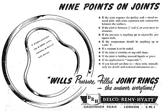 Delco Remy - Wills Pressure Filled Joint Rings 1949