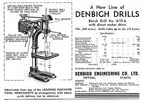 Denbigh Engineering. Tipton,Staffs. Machine Tools 1939