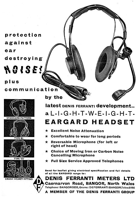 Denis Ferranti Meters Ltd. Bangor. EARGUARD Headsets