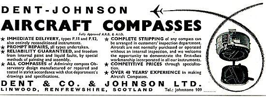Dent Johnson  P11  & P12 Aircraft Compasses. Sales & Service