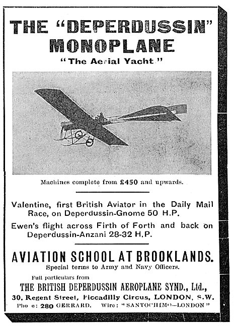 British Deperdussin Monoplane - Gnome 50 HP - Anzani 28-32 HP