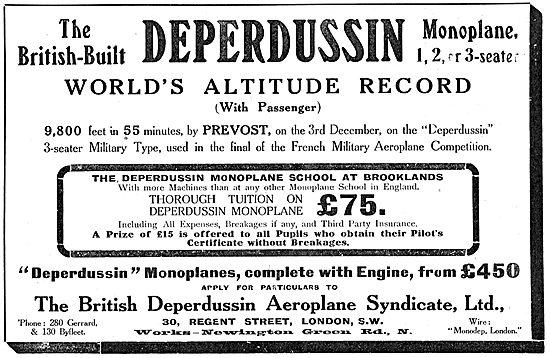 British Deperdussin Monoplane - World Altltude Record