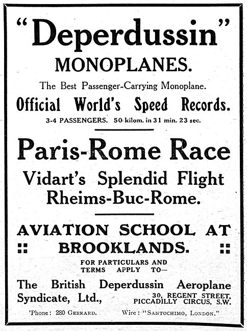 British Deperdussin Monoplanes & Flying School Brooklands