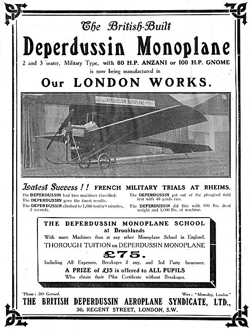 British Built Deperdussin Monoplanes With 80HP Anzani Engines