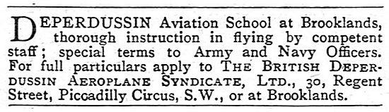 Deperdussin Aviation School Brooklands Aerodrome