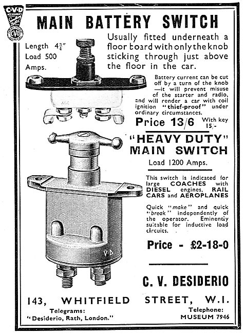 C.V.Desiderio Electrical Parts. Main Battery Switch 1939