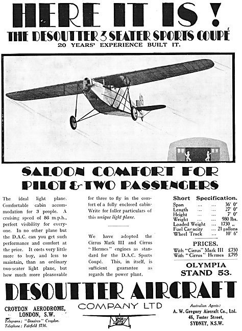 Desoutter Aircraft Croydon 1929 Advert