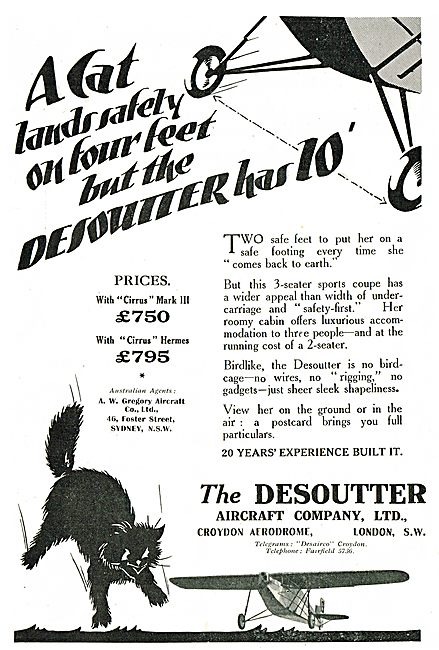 Desoutter Aircraft - A Cat Lands Safely On Four Feet....