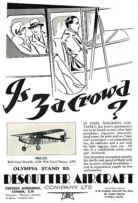 Desoutter Aircraft - Desoutter Monoplane G-AAGC