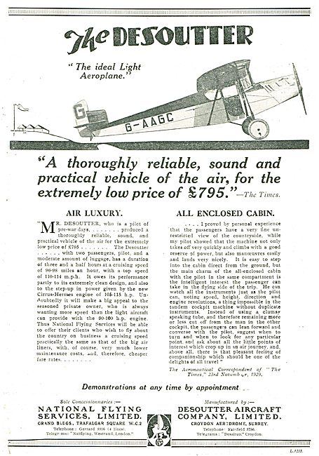 The Desoutter - An Ideal Light Aeroplane. £795.00 G-AAGC