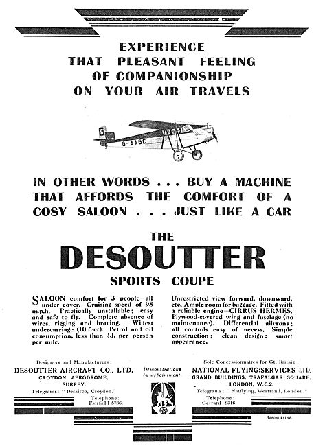 Desoutter 3 Seater Sports Coupe Aircraft