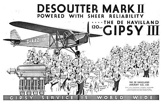 Desoutter MkII Aircraft - Gipsy III Engine. G-AAZI
