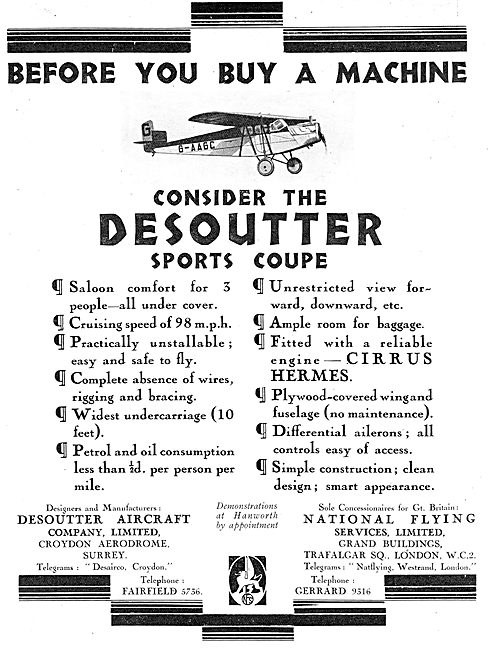 Desoutter Sports Coupe Aircraft - Points To Consider