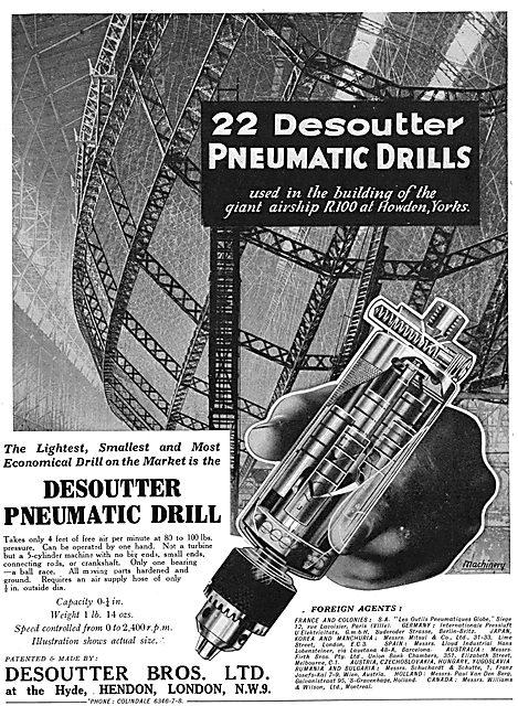 Desoutter Pneumatic Drills. R100 Airship 1929
