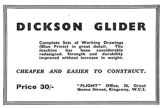 Dickson Glider Plans and Drawings