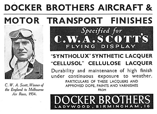 Docker Brothers Aircraft Finishes: Syntholux  Cellusol  Cellulose