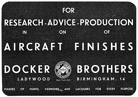 Docker Brothers Aircraft Paints & Finishes 1943 Advert