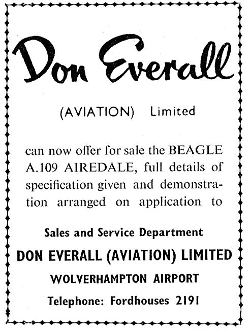 Don Everall, Wolverhampton Airport: Aircraft Sales & Service