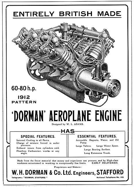 Dorman Aeroplane Engine 1912 - Designed By W.L.Adams