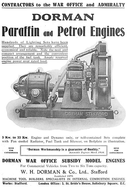Dorman Paraffin & Petrol Stationary Engines 1916 Advert