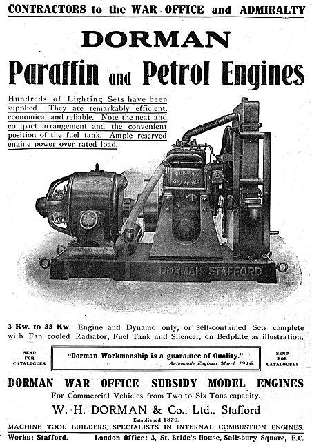 Dorman Paraffin & Petrol Stationary Engines. Dorman Lighting Sets