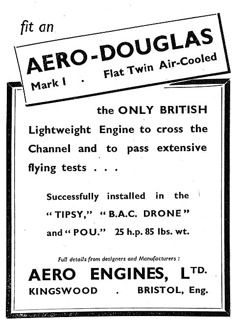 Aero-Douglas Mark I Flat Twin Air Cooled Aero Engine: Pou: Drone: